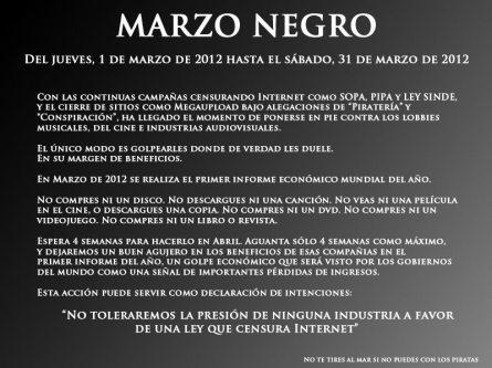Marzo Negro, Apagón, Megaupload, Cierre, FBI, OPEN, SOPA, PIPA, SGAE, Sinde, Ley, Internet, Censura, Cierre de webs, Industria,